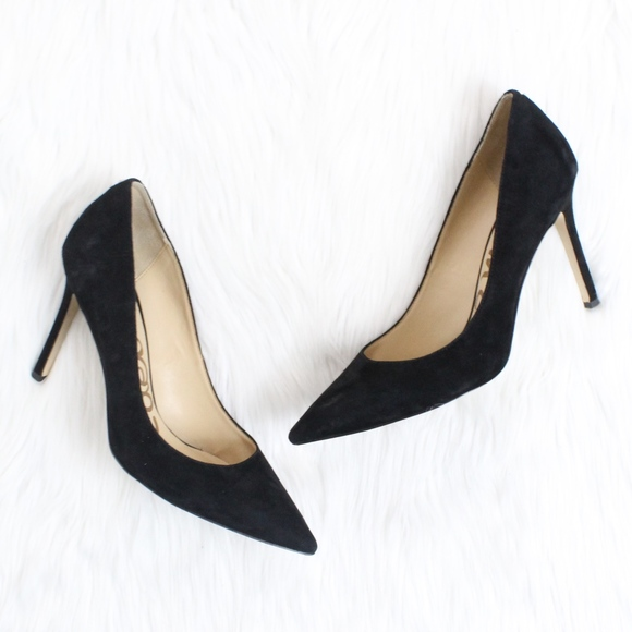 6d1338edf795 SAM EDELMAN Hazel Pointy Toe Pump in Black Suede. M 5aa9887d9cc7ef419dba2ec1